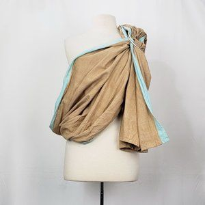 Hip Baby Wrap Ring Sling Brown Aqua Cotton Carrier